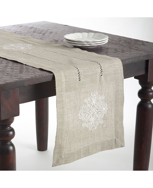 Saro Lifestyle Medallion Design Embroidered Linen Blend Table Topper or Table Runner