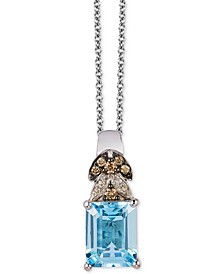 "Sea Blue Aquamarine (1-5/8 ct. t.w.) & Diamond (1/10 ct. t.w.) 18"" Pendant Necklace in 14k White Gold"