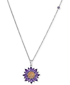 "Amethyst (1-7/8 ct. t.w.) & Citrine (1/10 ct. t.w.) Sunflower 18"" Pendant Necklace in 10k Gold & White Gold"
