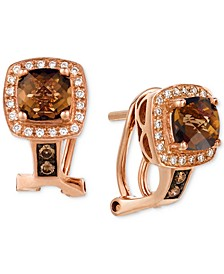 Chocolate Quartz (1 ct. t.w.) & Diamond (1/6 ct. t.w.) Drop Earrings in 14k Rose Gold