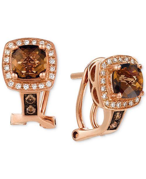 Le Vian Chocolate Quartz (1 ct. t.w.) & Diamond (1/6 ct. t.w.) Drop Earrings in 14k Rose Gold