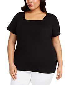 Plus Size Cotton Square-Neckline Top, Created for Macy's