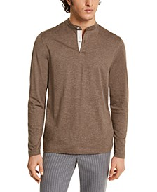 Men's Banded Collar Long Sleeve Henley Shirt, Created for Macy's