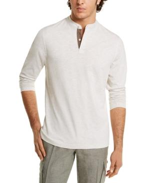 Tasso Elba Men's Banded Collar Long Sleeve Henley Shirt, Created for Macy's