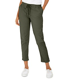 Petite Twill-Tape-Tie Utility Pants, Created for Macy's