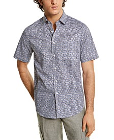 Men's Stretch Interitaly Circle Print Short-Sleeve Woven Shirt, Created for Macy's