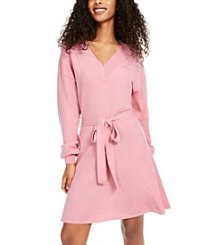 Juniors' Tie-Waist Sweater Dress