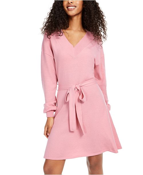 Sequin Hearts Juniors' Tie-Waist Sweater Dress