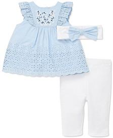 Baby Girls 3-Pc. Butterfly Eyelet Top, Pants & Headband Set