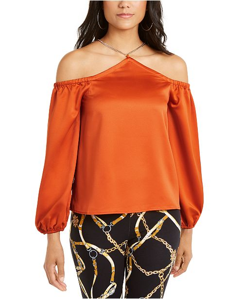 Thalia Sodi Cold-Shoulder Chain-Neck Top, Created For Macy's