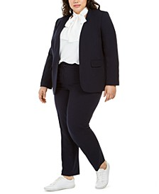 Trendy Plus Size Open-Front Blazer, Tie-Neck Blouse & Ankle Pants, Created for Macy's