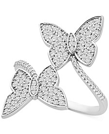 Diamond Butterfly Bypass Statement Ring (1/2 ct. t.w.) in 14k White Gold, Created for Macy's