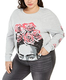 Trendy Plus Size Frida Roses Long-Sleeve Cropped T-Shirt, Created for Macy's