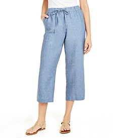Linen Cropped Tie-Waist Pants, Created for Macy's