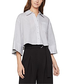 Cotton Pinstriped Cropped Shirt