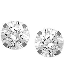 """Cubic Zirconia 1/3"""" Stud Fine Silver Plate Earrings"""
