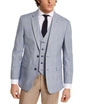 Men's Modern-Fit Flex Stretch Blue/Red Plaid Sport Coat