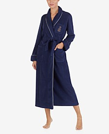 Fleece Shawl Collar Long Robe