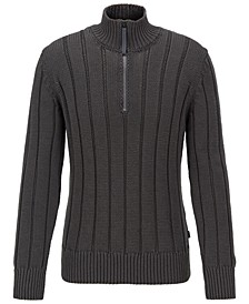 BOSS Men's Grego Wide-Rib Zip-Neck Sweater