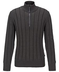 BOSS Men's Grego Wide-Rib Zip-Neck Sweater