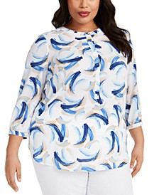Plus Size Printed Pleated-Back Top, Created for Macy's