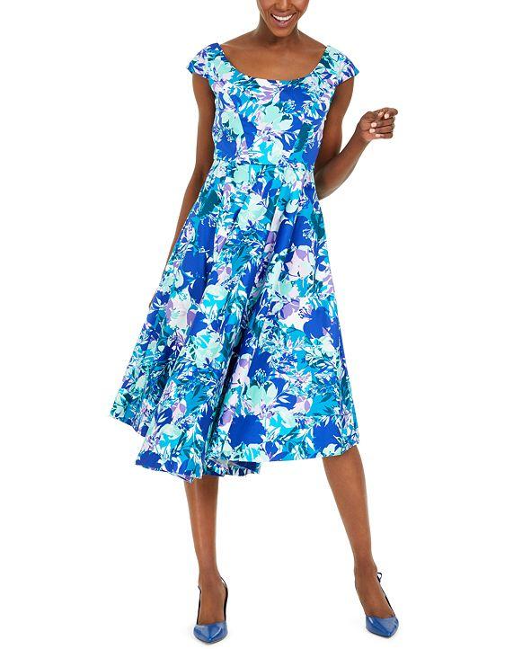 Calvin Klein Floral-Print Fit & Flare Dress
