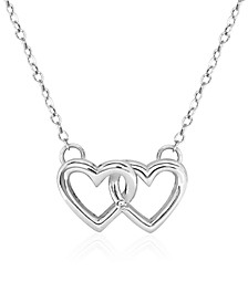 Children's Double Heart Pendant Necklace in Sterling Silver