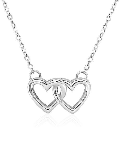 Rhona Sutton Children's Double Heart Pendant Necklace in Sterling Silver
