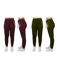 Galaxy By Harvic Women's Loose Fit Fleece Joggers with Zipper Pockets, Pack of 2