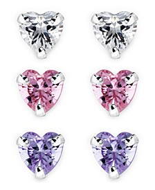 Children's  Colored Cubic Zirconia Heart Stud Earrings - Set of 3 in Sterling Silver