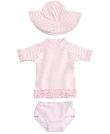 Toddler Girls Seersucker 2-Piece Rash Guard Swimsuit Swim Hat Set
