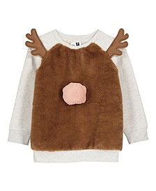 Little, Big and Toddler Girl's Reindeer Raglan Crew Sweatshirt