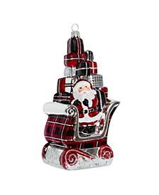 Santa in Sleigh with Gifts Version-Tartan Plaid Version