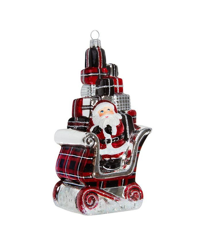 Joy to the World - Santa in Sleigh with Gifts Version-Tartan Plaid Version