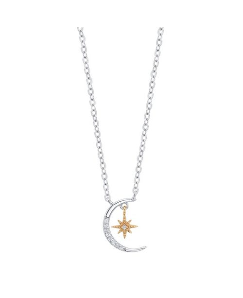 """Unwritten Sterling Silver Two-Tone CZ Crescent Moon and Star Pendant Necklace, 16""""+2"""" Extender"""
