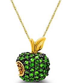 Tsavorite (1-3/8  ct. t.w.) and Yellow Sapphire (1/10  ct. t.w.) Apple Pendant in 14K Gold