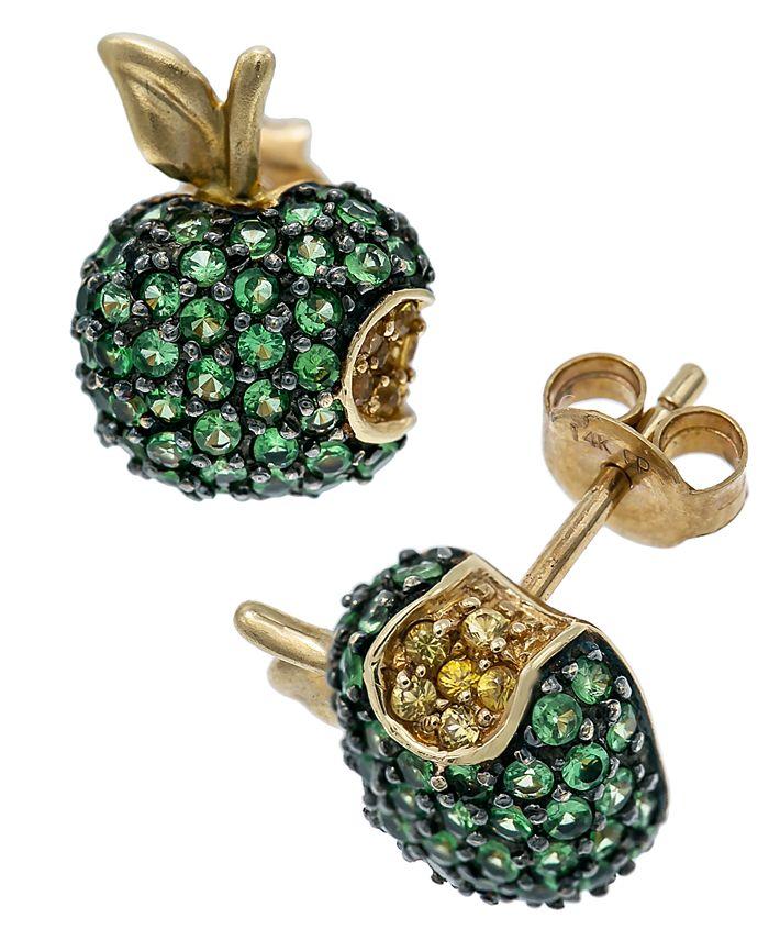 Macy's - Tsavorite (2 ct. t.w.) and Yellow Sapphire (1/4 ct. t.w..) Apple Earrings in 14K Gold