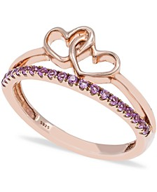 Pink Sapphire (1/5 ct t.w.) Ring in 14k Rose Gold over Sterling Silver