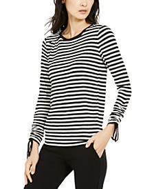 Drawstring-Cuff Striped Top