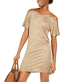 Metallic Cold-Shoulder Dress, Regular &  Petite