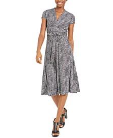 Printed V-Neck Fit & Flare Dress