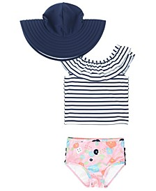 RuffleButts Toddler, Little and Big Girl's Ruffled Tankini 2-Piece Swimsuit Swim Hat Set