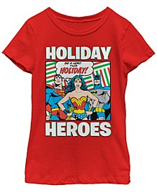DC Comic's Big Girl's Justice League Be A Hero This Holiday Short Sleeve T-Shirt