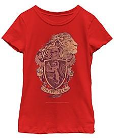 Harry Potter Big Girl's The Deathly Hallows Gryffindor House Crest Short Sleeve T-Shirt