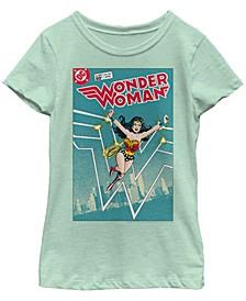 DC Comic's Big Girl's Wonder Woman Classic Comic Book Cover Short Sleeve T-Shirt