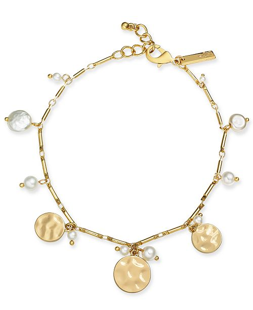 INC International Concepts INC Gold-Tone Shaky Disc & Imitation Pearl Ankle Bracelet, Created For Macy's