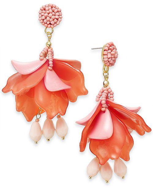 INC International Concepts INC Gold-Tone Bead & Shaky Petal Drop Earrings, Created For Macy's