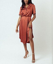 Simulated Silk Satin Mini Slip Dress