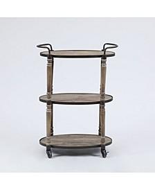 Mobile Metal And Wood Storage Cart