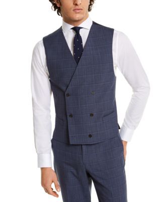 Men's Classic-Fit UltraFlex Navy Windowpane Suit Separate Vest